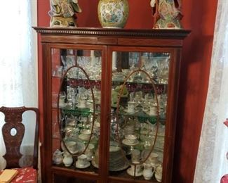 ANTIQUE HEPPLEWHITE CURIO CABINET...ANTIQUE CHINESE URN...CHINESE STATUES