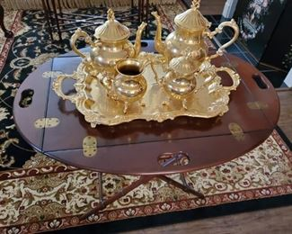 GOLD PLATED TEA SERVICE on BUTLER TABLE