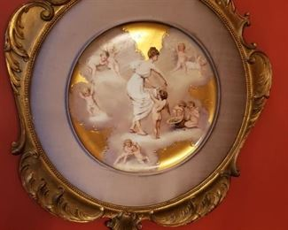 "ANTIQUE 16"" FRAMED ROYAL VIENNA CABINET PLATE SIGNED ""EACH HIS TURN"" by BERGER PING (?)"