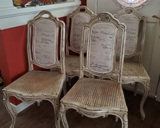 SET OF 4 VINTAGE FRENCH DINING CHAIRS WITH CANE SEATS