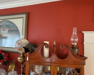 WW II HELMET....WW  II TROOP PHOTO...ANTIQUE OIL LAMP