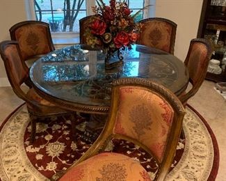 60 DIAMETER ROUND KITCHEN TABLE WITH SIX GORGEOUS CHAIRS $1150 OBO