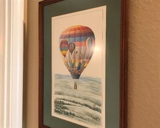 Framed and signed hot air balloon print by Nashville artist, Phil Ponder,- hot air balloon soaring over the skyline of Nashville- from 1992 Nashville Balloon Classic