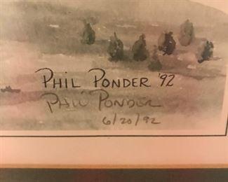 Phil Ponder's signature on framed print