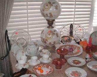 china..Vintage English bone china tea set....vintage lamp..glass