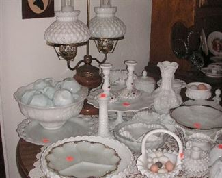 large collection of vintage milk glass