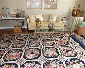 Needlepoint area rug