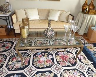 Brushed brass and glass top coffee table
