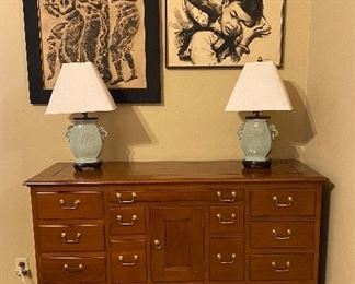 Apothecary Cabinet, Asian Lamps Ceramic, Indonesian Art, Chinese Decor