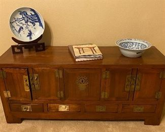 Hand Crafted Teakwood Coffer, Chinese Books on Furniture, Decorative Plates