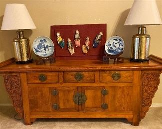 Asian Brass Lamps, Custom Made Teakwood Coffer Cabinet, Decorative Plates, Hand Crafted Figurines Mounted on Plaque