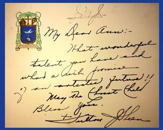 Letter to Anne Sheen from her Uncle Bishop Fulton Sheen on His Stationery with his Coat of Arms and his Signature