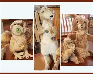Steiff Owl, Kangaroo, Poodle and Rabbit