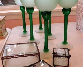 GREEN GLASS WINE GLASSES AND GLASS BOXES