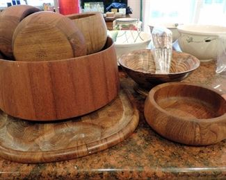 DANSK VINTAGE TEAK SALAD BOWL SET WITH TONGS