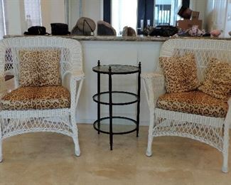 WHITE WICKER CHAIRS AND METAL SIDE TABLE