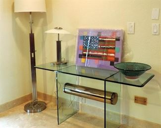 GLASS SOFA TABLE AND CHROME LAMPS