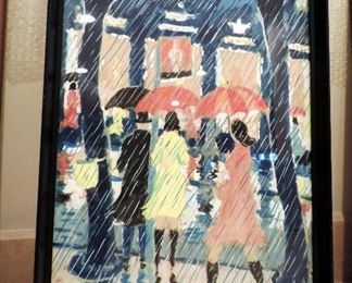 ORIGINAL ART JEHUDA WALLERSTEINER, WOMEN IN THE RAIN