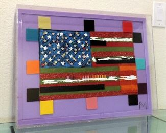 ACRYLIC FLAG BY GALVESTON ARTIST MARK MUHICH EMBELLISHED FLAG #22