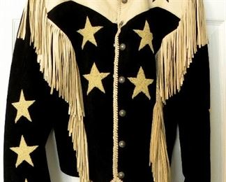 DESIGNER SUEDE JACKET WITH FRINDGE AND GOLD STARS
