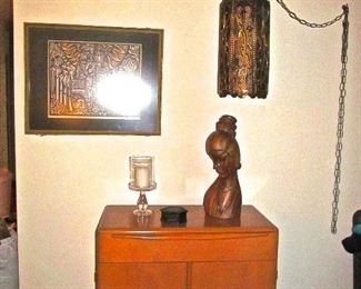 """HEYWOOD WAKEFIELD CABINET, HAND CARVED ASIAN BUST, FABULOUS  """"SWAG LAMP"""" FIXTURE"""