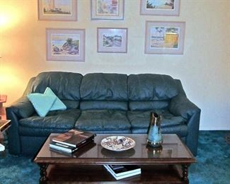 LEATHER COUCH, HENREDON CHERRY COFFEE TABLE 6,  LITHOGRAPHS WITH ARTIST'S SIGNATURE, AND TESS JUST ADMIRING EVERYTHING!