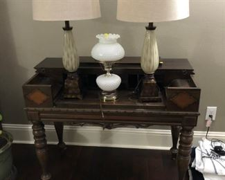 antique desk and lamps