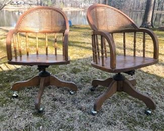 10. Pair of Cane Back Office Chairs