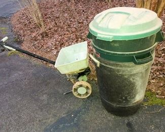 45. Rolling Seed Spreader and Plastic Bins