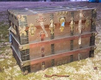 47. Antique Chest with Leather and Brass Detail