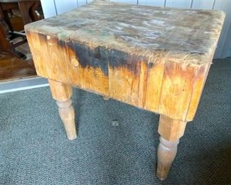 54. Antique butchers block from old Virginia meat market store