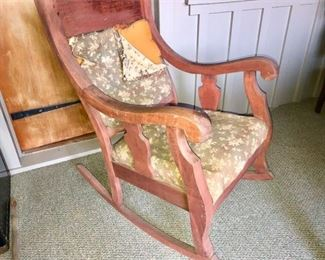 57. Upholstered Antique Rocking Chair