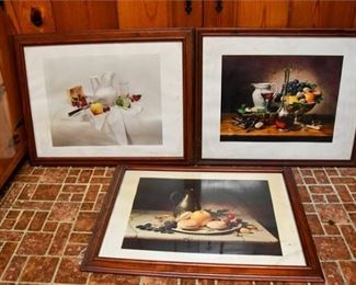 73. Three 3 Color Lithographs of Still Life Scenes