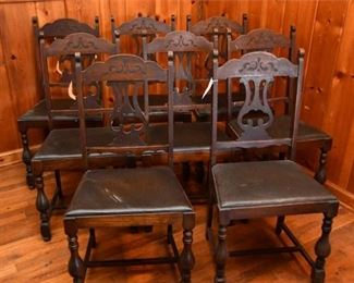 91. Set of Eight 8 Pierced Splat Leather Seat Chairs