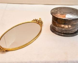 94. Silverplate Stacked Box and Gilt Mirror