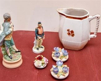 128. Porcelain Figurines and Pitcher