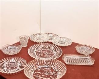 131. Ten 10 Pressed and Cut Glass Plates