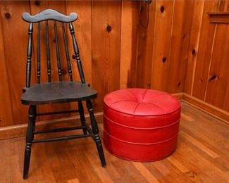 140. Stick Back Chair and Upholstered Ottoman
