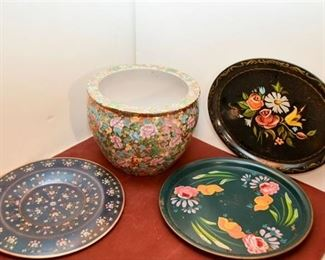 144. Floral Planter and Three 3 Trays