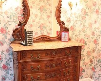 Marble Top Cabinet with Carvings and Matching Mirror – Nice Foyer Piece