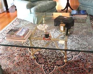 Glass and Metal Square Coffee Table