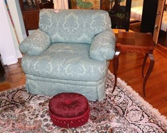 Upholstered Easy Chair and Small, Tasseled, Red Foot Stool with Side Table