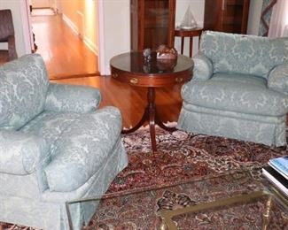 Pair of Upholstered Occasional Chairs and Round Wood Side Table