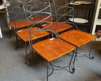 Wrought Iron Chairs with Solid Wood Seats