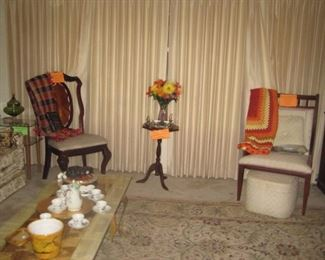 Mahogany chair, table and Walnut arm chair