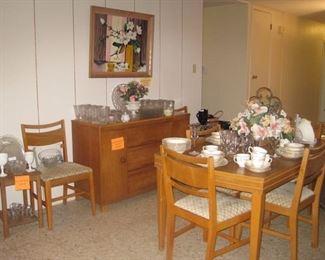 Danish modern table, buffet and glassware/china