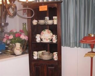 Corner Cabinet with Desert Rose dishes