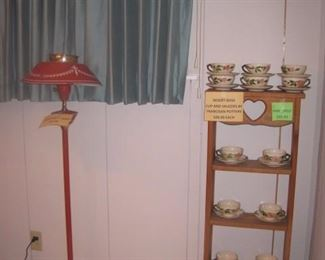 Pine Cabinet with Desert Rose china