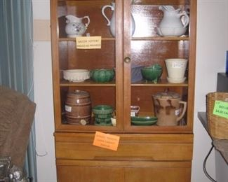 Danish Modern china cabinet with McCoy pottery