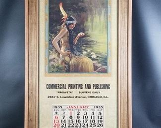 Rare 1935 Slovene National, Hiebel Calendar